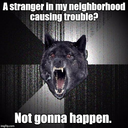 A stranger in my neighborhood causing trouble? Not gonna happen. | made w/ Imgflip meme maker