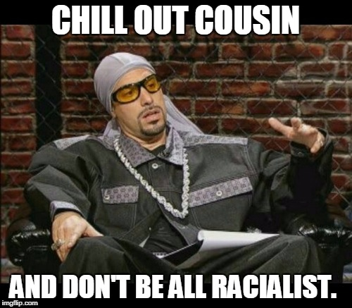 CHILL OUT COUSIN AND DON'T BE ALL RACIALIST. | made w/ Imgflip meme maker