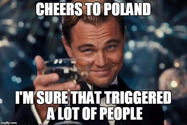 Leonardo Dicaprio Cheers Meme | CHEERS TO POLAND I'M SURE THAT TRIGGERED A LOT OF PEOPLE | image tagged in memes,leonardo dicaprio cheers | made w/ Imgflip meme maker