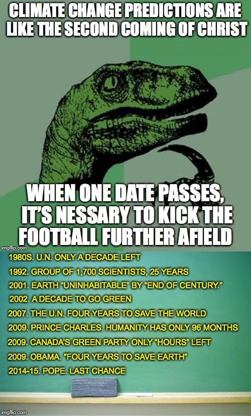 "Philosoraptor | 1980S. U.N. ONLY A DECADE LEFT 1992. GROUP OF 1,700 SCIENTISTS, 25 YEARS 2001. EARTH ""UNINHABITABLE"" BY ""END OF CENTURY."" 2002. A DECADE TO  