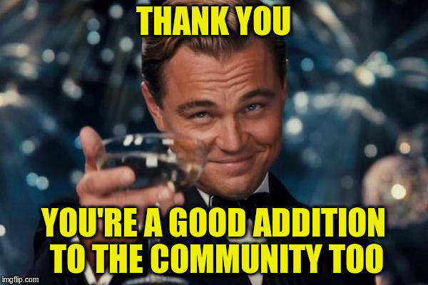 Leonardo Dicaprio Cheers Meme | THANK YOU YOU'RE A GOOD ADDITION TO THE COMMUNITY TOO | image tagged in memes,leonardo dicaprio cheers | made w/ Imgflip meme maker