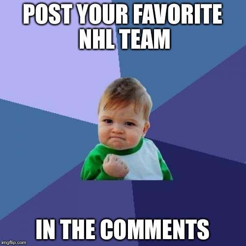 Mine is the Nashville Predators. GO PREDS!!!!!!! | POST YOUR FAVORITE NHL TEAM IN THE COMMENTS | image tagged in memes,success kid,nhl | made w/ Imgflip meme maker