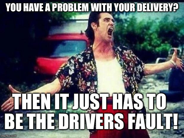 Ace Ventura  | YOU HAVE A PROBLEM WITH YOUR DELIVERY? THEN IT JUST HAS TO BE THE DRIVERS FAULT! | image tagged in ace ventura | made w/ Imgflip meme maker