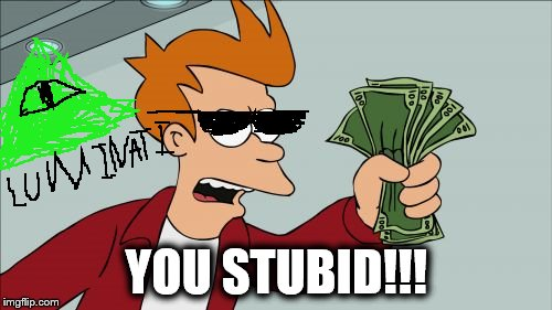 Shut Up And Take My Money Fry Meme | YOU STUBID!!! | image tagged in memes,shut up and take my money fry | made w/ Imgflip meme maker