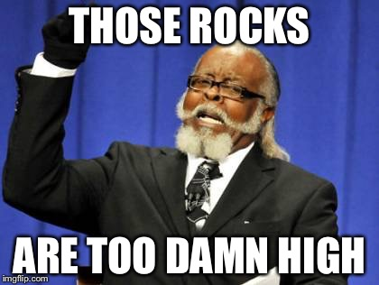 Too Damn High Meme | THOSE ROCKS ARE TOO DAMN HIGH | image tagged in memes,too damn high | made w/ Imgflip meme maker