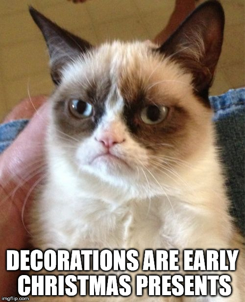 Grumpy Cat Meme | DECORATIONS ARE EARLY CHRISTMAS PRESENTS | image tagged in memes,grumpy cat | made w/ Imgflip meme maker