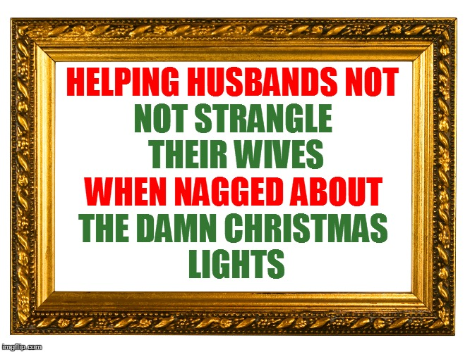 HELPING HUSBANDS NOT THE DAMN CHRISTMAS LIGHTS NOT STRANGLE THEIR WIVES WHEN NAGGED ABOUT | made w/ Imgflip meme maker
