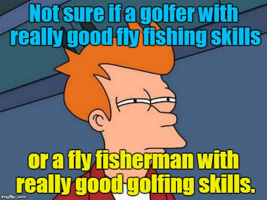 Futurama Fry Meme | Not sure if a golfer with really good fly fishing skills or a fly fisherman with really good golfing skills. | image tagged in memes,futurama fry | made w/ Imgflip meme maker