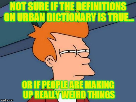 Futurama Fry Meme | NOT SURE IF THE DEFINITIONS ON URBAN DICTIONARY IS TRUE... OR IF PEOPLE ARE MAKING UP REALLY WEIRD THINGS | image tagged in memes,futurama fry | made w/ Imgflip meme maker