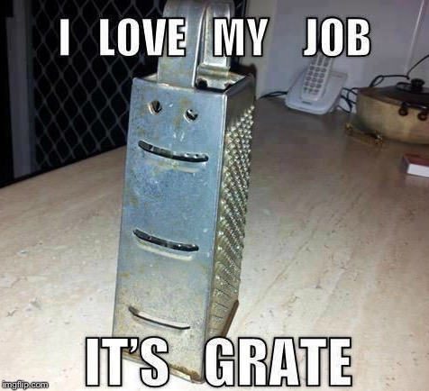 I LOVE MY JOB IT'S GRATE | image tagged in memes,i feel grate | made w/ Imgflip meme maker