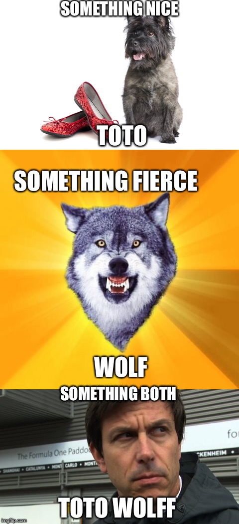 Is this how he was named? | SOMETHING NICE TOTO SOMETHING FIERCE WOLF SOMETHING BOTH TOTO WOLFF | image tagged in formula 1,funny | made w/ Imgflip meme maker