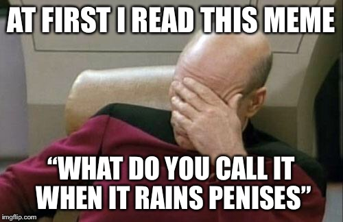 "Captain Picard Facepalm Meme | AT FIRST I READ THIS MEME ""WHAT DO YOU CALL IT WHEN IT RAINS P**ISES"" 