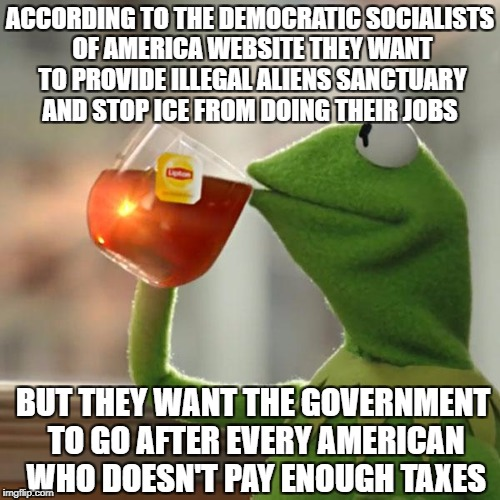But That's None Of My Business |  ACCORDING TO THE DEMOCRATIC SOCIALISTS OF AMERICA WEBSITE THEY WANT TO PROVIDE ILLEGAL ALIENS SANCTUARY AND STOP ICE FROM DOING THEIR JOBS; BUT THEY WANT THE GOVERNMENT TO GO AFTER EVERY AMERICAN WHO DOESN'T PAY ENOUGH TAXES | image tagged in memes,but thats none of my business,democratic socialism,illegal immigration,liberal logic,liberal hypocrisy | made w/ Imgflip meme maker