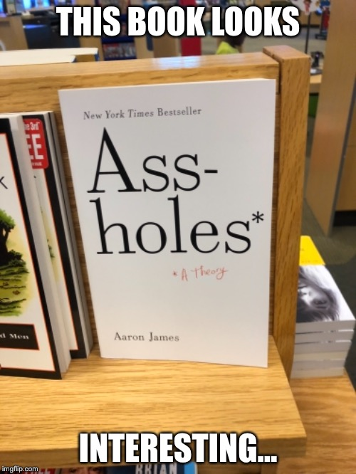 One reason to go to a book store... | THIS BOOK LOOKS INTERESTING... | image tagged in ass,holes,assholes | made w/ Imgflip meme maker