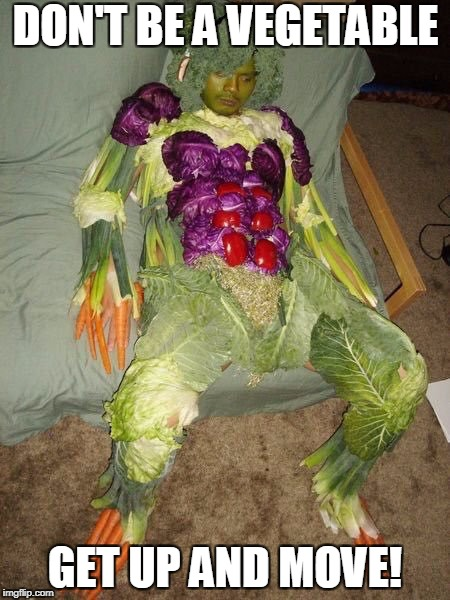 DON'T BE A VEGETABLE GET UP AND MOVE! | image tagged in vegetable man | made w/ Imgflip meme maker