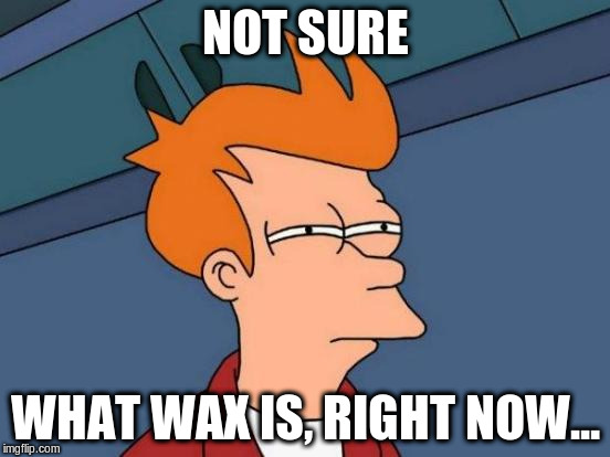 Futurama Fry Meme | NOT SURE WHAT WAX IS, RIGHT NOW... | image tagged in memes,futurama fry | made w/ Imgflip meme maker