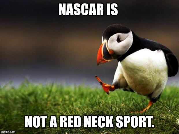 Unpopular Opinion Puffin Meme | NASCAR IS NOT A RED NECK SPORT. | image tagged in memes,unpopular opinion puffin | made w/ Imgflip meme maker