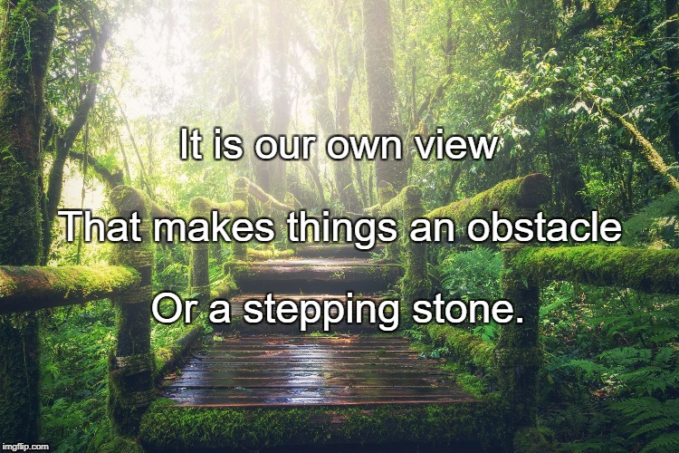It is our own view Or a stepping stone. That makes things an obstacle | image tagged in forest path | made w/ Imgflip meme maker