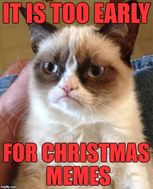 Grumpy Cat Meme | IT IS TOO EARLY FOR CHRISTMAS MEMES | image tagged in memes,grumpy cat | made w/ Imgflip meme maker