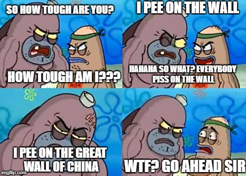 You didn't asked which wall... | SO HOW TOUGH ARE YOU? HOW TOUGH AM I??? I PEE ON THE WALL HAHAHA SO WHAT? EVERYBODY PISS ON THE WALL I PEE ON THE GREAT WALL OF CHINA WTF? G | image tagged in memes,how tough are you,funny,tough,thug life,like a boss | made w/ Imgflip meme maker