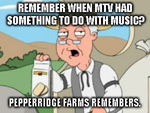MTV used to be about music | REMEMBER WHEN MTV HAD SOMETHING TO DO WITH MUSIC? PEPPERRIDGE FARMS REMEMBERS. | image tagged in mtv,music | made w/ Imgflip meme maker
