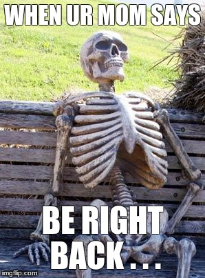 Waiting Skeleton Meme | WHEN UR MOM SAYS BE RIGHT BACK . . . | image tagged in memes,waiting skeleton | made w/ Imgflip meme maker