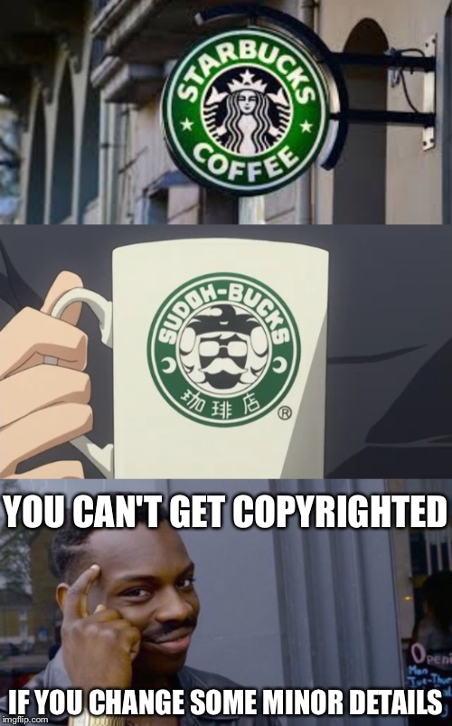 It's hilarious what you find in anime sometimes ;P | YOU CAN'T GET COPYRIGHTED IF YOU CHANGE SOME MINOR DETAILS | image tagged in anime weekend,animeme,starbucks,copyright,can't blank if you don't blank,funny | made w/ Imgflip meme maker