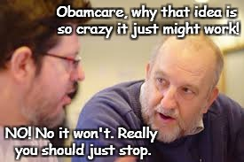 Crazy Obamacare | Obamcare, why that idea is so crazy it just might work! NO! No it won't. Really you should just stop. | image tagged in obamacare,so crazy it might work | made w/ Imgflip meme maker