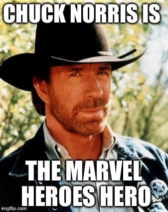 Chuck Norris |  CHUCK NORRIS IS; THE MARVEL HEROES HERO | image tagged in memes,chuck norris,marvel,marvel heroes | made w/ Imgflip meme maker