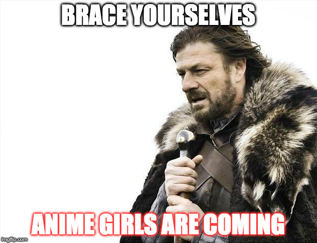 Brace Yourselves X is Coming Meme | BRACE YOURSELVES ANIME GIRLS ARE COMING | image tagged in memes,brace yourselves x is coming | made w/ Imgflip meme maker