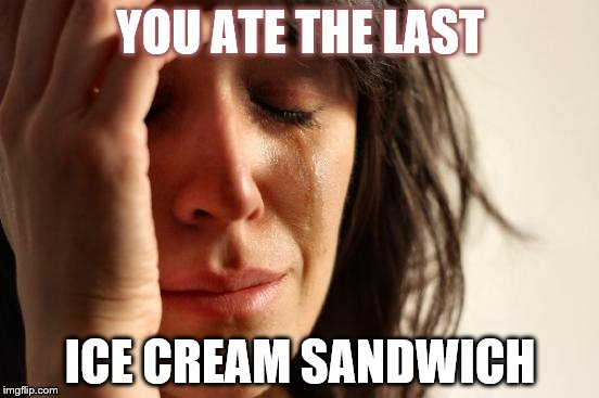 First World Problems Meme | YOU ATE THE LAST ICE CREAM SANDWICH | image tagged in memes,first world problems | made w/ Imgflip meme maker