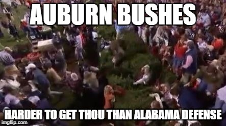 auburn bushes | AUBURN BUSHES HARDER TO GET THOU THAN ALABAMA DEFENSE | image tagged in auburnbushes | made w/ Imgflip meme maker