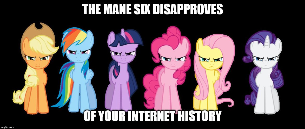 THE MANE SIX DISAPPROVES OF YOUR INTERNET HISTORY | image tagged in angry poniesmane 6 | made w/ Imgflip meme maker