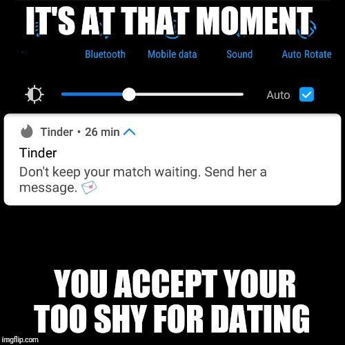 Tinder panic | IT'S AT THAT MOMENT YOU ACCEPT YOUR TOO SHY FOR DATING | image tagged in funny | made w/ Imgflip meme maker