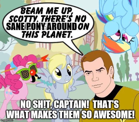 Kirk/My little Pony | SANE PONY AROUND NO SH!T, CAPTAIN!  THAT'S WHAT MAKES THEM SO AWESOME! | image tagged in kirk/my little pony | made w/ Imgflip meme maker