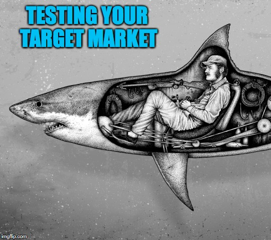 Who Needs An MBA Anyway? | TESTING YOUR TARGET MARKET | image tagged in marketing,jaws,business | made w/ Imgflip meme maker