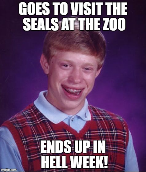 Bad Luck Brian Meme | GOES TO VISIT THE SEALS AT THE ZOO ENDS UP IN HELL WEEK! | image tagged in memes,bad luck brian | made w/ Imgflip meme maker