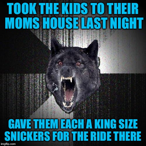 Insanity Wolf Meme | TOOK THE KIDS TO THEIR MOMS HOUSE LAST NIGHT GAVE THEM EACH A KING SIZE SNICKERS FOR THE RIDE THERE | image tagged in memes,insanity wolf,americanpenguin | made w/ Imgflip meme maker