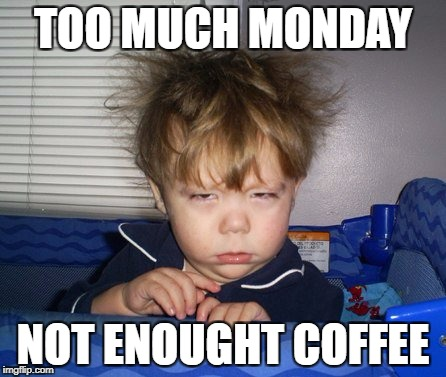 Monday Mornings | TOO MUCH MONDAY NOT ENOUGHT COFFEE | image tagged in monday mornings | made w/ Imgflip meme maker