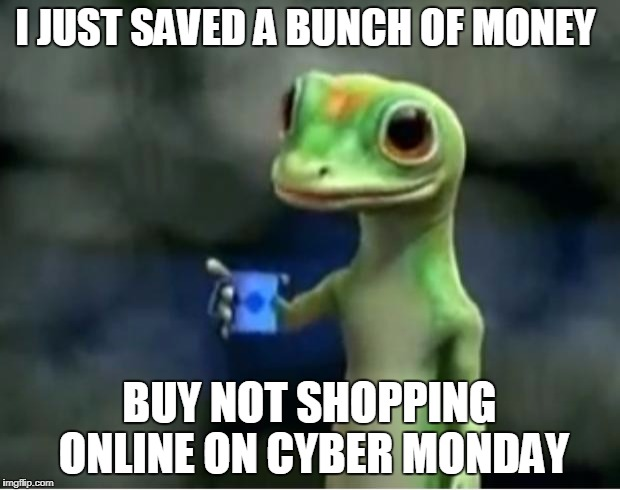 If i can save my money and wait for prices to go down you can too | I JUST SAVED A BUNCH OF MONEY BUY NOT SHOPPING ONLINE ON CYBER MONDAY | image tagged in geico gecko,save,money,truth | made w/ Imgflip meme maker