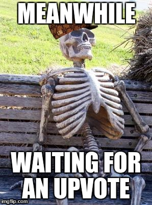 Waiting Skeleton Meme | MEANWHILE WAITING FOR AN UPVOTE | image tagged in memes,waiting skeleton,scumbag | made w/ Imgflip meme maker