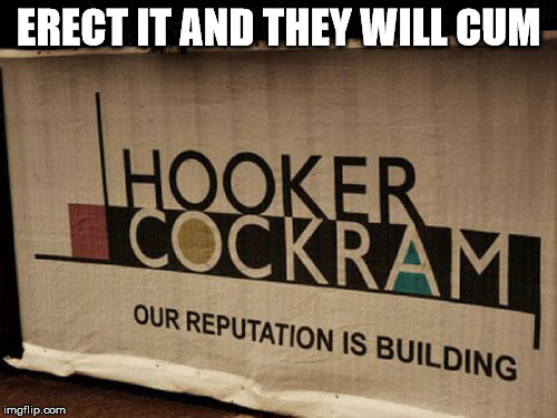 ERECT IT AND THEY WILL CUM | image tagged in funny name hooker cock building reputation erect cum | made w/ Imgflip meme maker