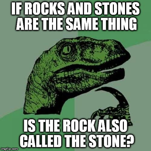 Philosoraptor | IF ROCKS AND STONES ARE THE SAME THING IS THE ROCK ALSO CALLED THE STONE? | image tagged in memes,philosoraptor,the rock,funny,funny memes,funny meme | made w/ Imgflip meme maker