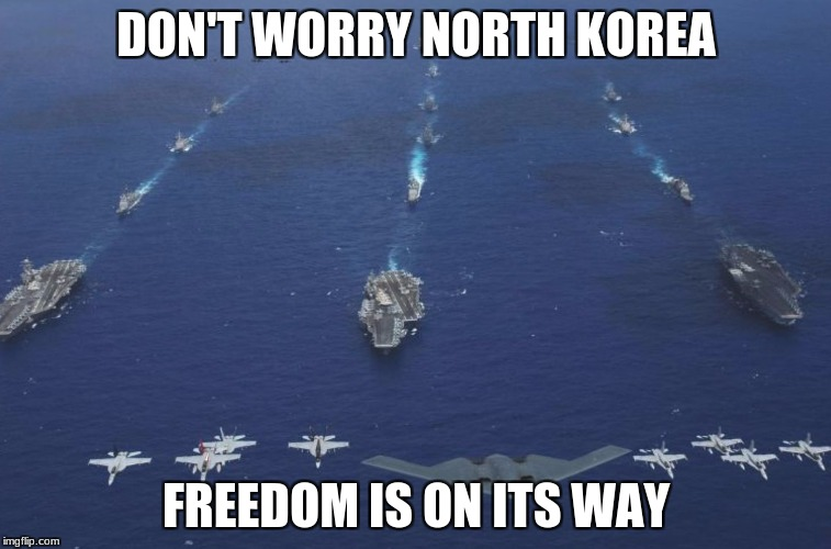 DON'T WORRY NORTH KOREA FREEDOM IS ON ITS WAY | image tagged in niger,us military,mccain,trump | made w/ Imgflip meme maker
