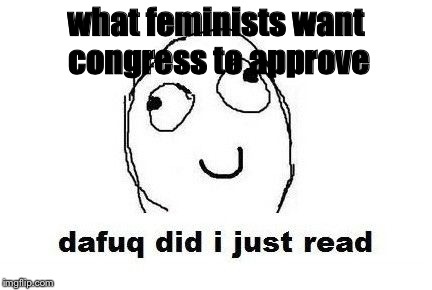 Dafuq Did I Just Read |  what feminists want congress to approve | image tagged in memes,dafuq did i just read | made w/ Imgflip meme maker