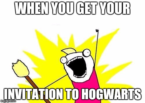 X All The Y Meme | WHEN YOU GET YOUR INVITATION TO HOGWARTS | image tagged in memes,x all the y | made w/ Imgflip meme maker