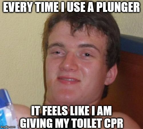 10 Guy Meme | EVERY TIME I USE A PLUNGER IT FEELS LIKE I AM GIVING MY TOILET CPR | image tagged in memes,10 guy | made w/ Imgflip meme maker