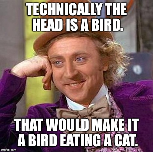 Creepy Condescending Wonka Meme | TECHNICALLY THE HEAD IS A BIRD. THAT WOULD MAKE IT A BIRD EATING A CAT. | image tagged in memes,creepy condescending wonka | made w/ Imgflip meme maker