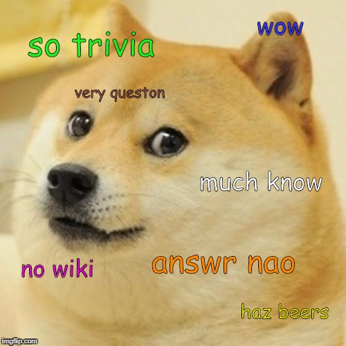 Doge Meme | so trivia much know wow no wiki haz beers very queston answr nao | image tagged in memes,doge | made w/ Imgflip meme maker