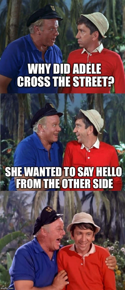 Gilligan Bad Pun | WHY DID ADELE CROSS THE STREET? SHE WANTED TO SAY HELLO FROM THE OTHER SIDE | image tagged in gilligan bad pun | made w/ Imgflip meme maker